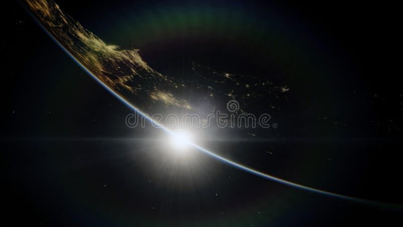 Dichtbij, satelliet met lage omloopbaan blauwe planeet Dit die beeldelementen door NASA worden geleverd stock illustratie