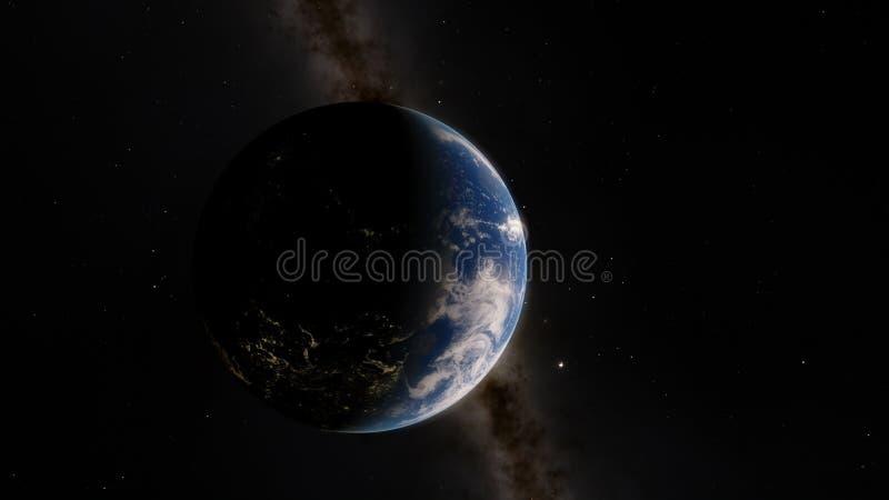 Dichtbij, satelliet met lage omloopbaan blauwe planeet Dit die beeldelementen door NASA worden geleverd stock foto