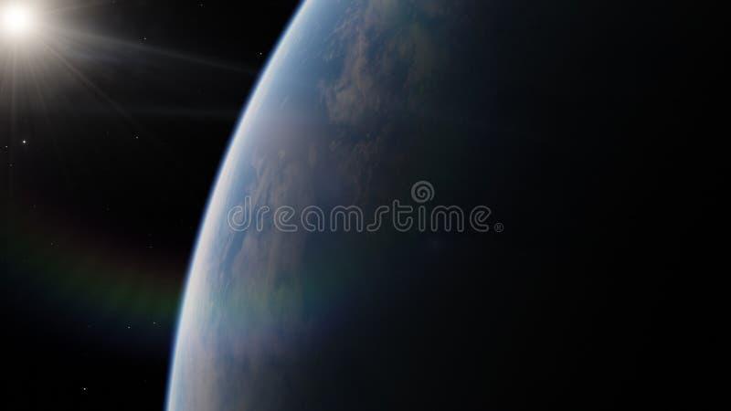 Dichtbij, satelliet met lage omloopbaan blauwe planeet Dit die beeldelementen door NASA worden geleverd royalty-vrije stock fotografie