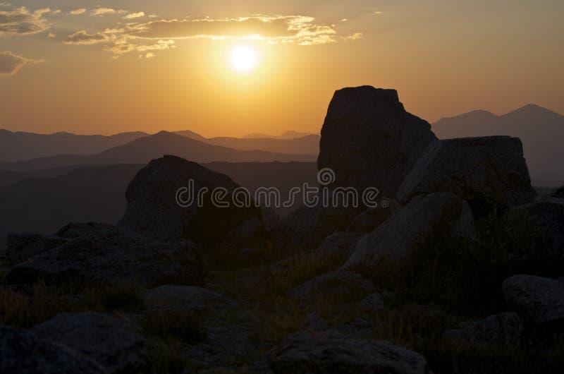 Dichtbijgelegen de zonsondergang zet Evans op royalty-vrije stock fotografie