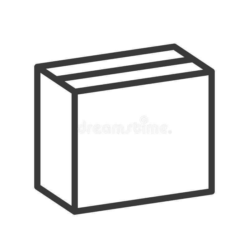 Dichte doos, het verschepen en logistisch pictogram, het pixel van het overzichtsontwerp perf stock illustratie