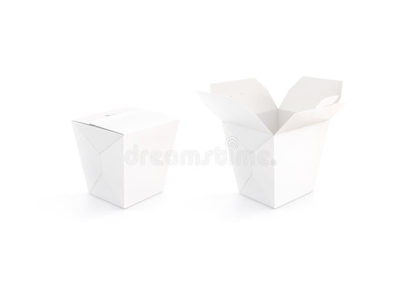 Dichte en open lege het modeltribune van de wokdoos, het 3d teruggeven stock afbeeldingen