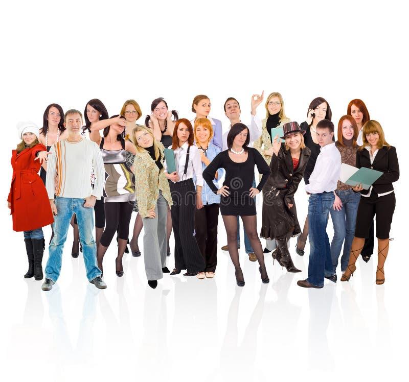 Dichte groep jonge mensen stock afbeeldingen