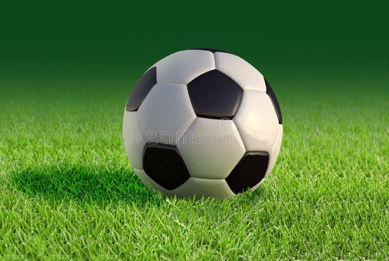 Dichte omhooggaand van de voetbalbal op grasgazon. vector illustratie