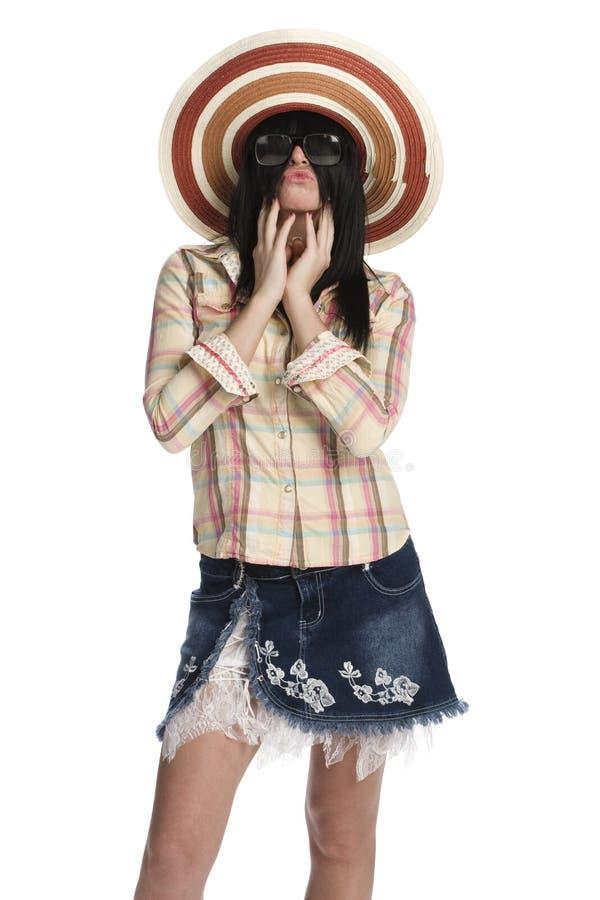 Vrouwen dichte omhooggaand met haar haar stock afbeelding