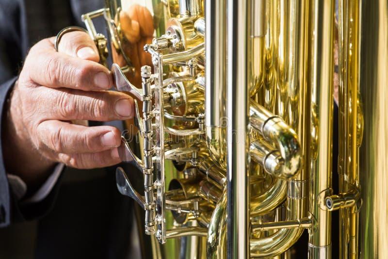 Dichte omhooggaand van het jazz muzikale instrument Concept: Speelmuziek, jazz royalty-vrije stock fotografie