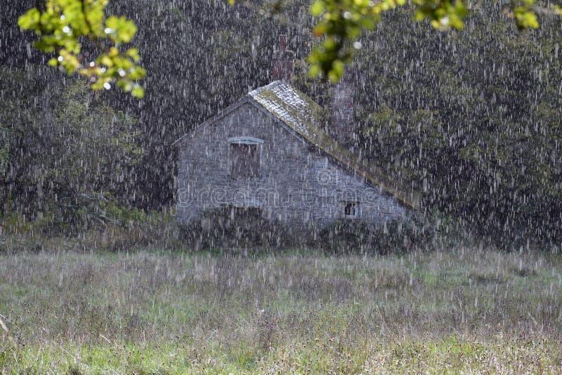 Dichte omhooggaand van regen die op een weide met een mooie verlaten molen vallen Knapp en Papermill, Worcestershire, het UK royalty-vrije stock foto's