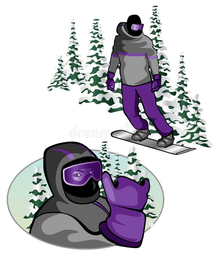 Dichte omhooggaand van Snowboarder stock illustratie