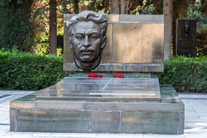 Dichter, Dramatist, Persönlichkeit des öffentlichen Lebens Samad Vurgun 1906-1956 in der Gasse der Ehre in Baku stockbild