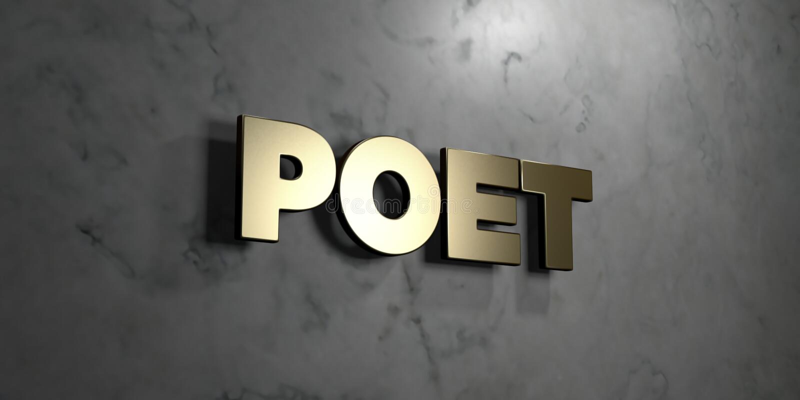 Dichter - Goldzeichen angebracht an der glatten Marmorwand - 3D übertrug freie Illustration der Abgabe auf Lager vektor abbildung