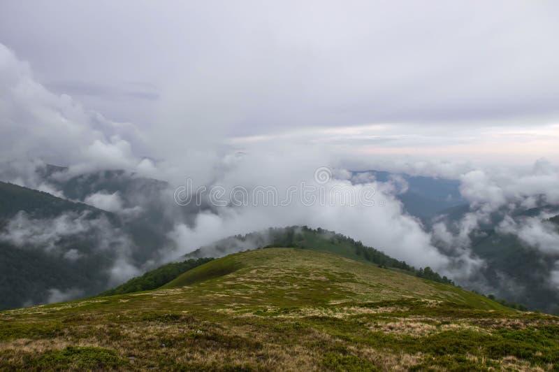 Dichter Nebel in den Bergen lizenzfreie stockfotografie