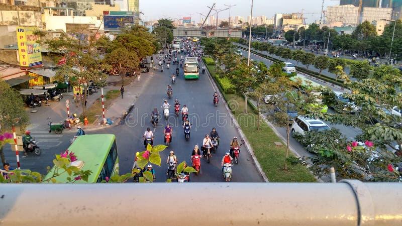 Dichter Verkehr auf normalem Wochentag in Ho Chi Minh Stadt lizenzfreies stockbild