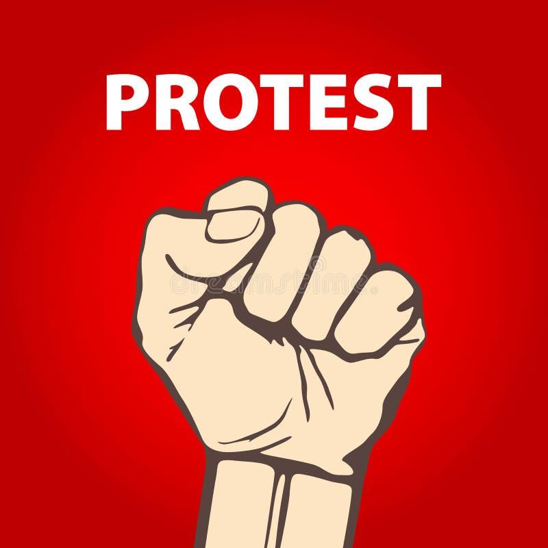 Dichtgeklemde die vuist in protest vectorillustratie wordt gehouden Vrijheid vector illustratie