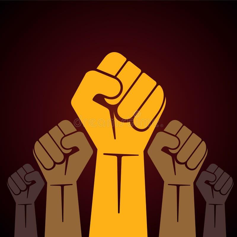 dichtgeklemde die vuist in protestillustratie wordt gehouden vector illustratie