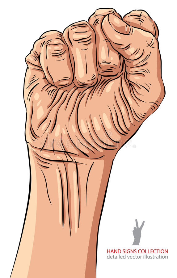 Dichtgeklemde vuist gehouden in het teken van de protesthand, gedetailleerd vectoril hoog royalty-vrije illustratie