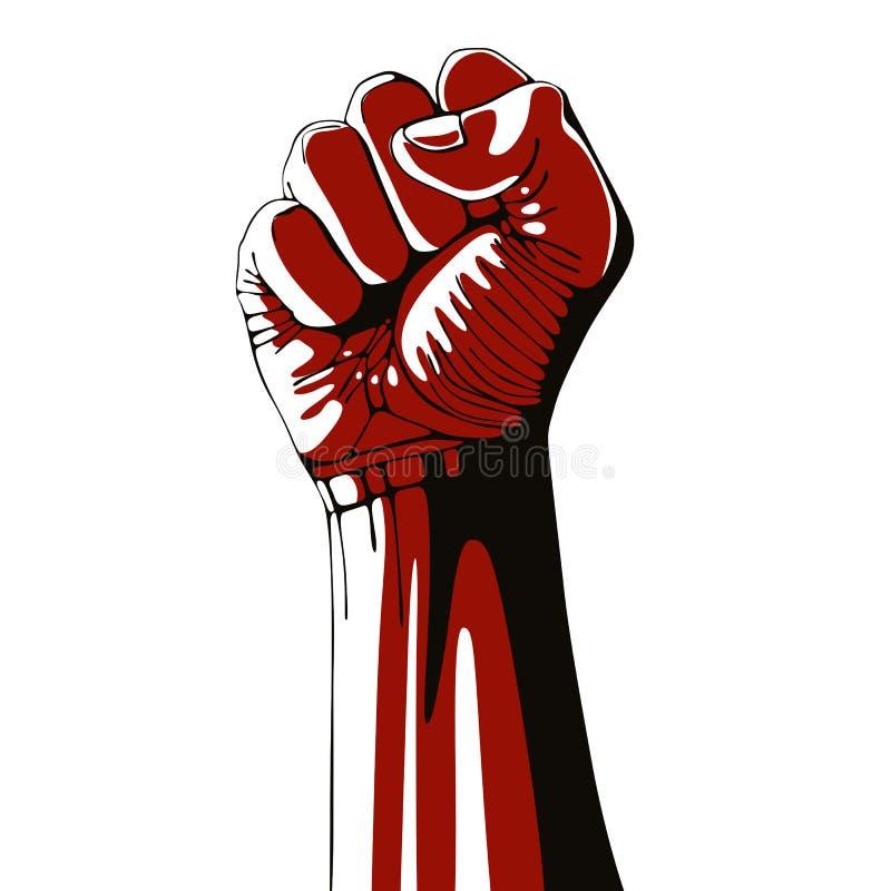 Dichtgeklemde vuist gehouden in protest hoog stock illustratie