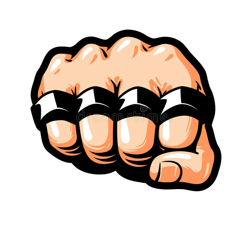 Dichtgeklemde vuist, messingsgewrichten Gangster, misdadiger, bandietensymbool De vectorillustratie van het beeldverhaal vector illustratie