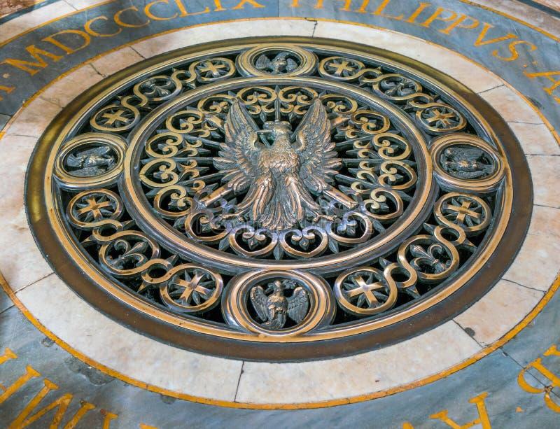 Dichtung auf dem Boden der Kirche von Sant-` Agnese in Agone in Rom, Italien lizenzfreies stockfoto