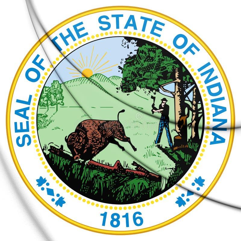 Dichtung des Zustands-3D von Indiana, USA lizenzfreie abbildung