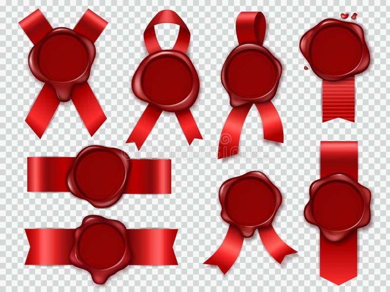 Dichtungskerzenstempel Rote Bänder mit ursprünglichem einwachsendem Poststempelsatz der Gummiweinlesedokumentenumschlagdichtungen lizenzfreie abbildung