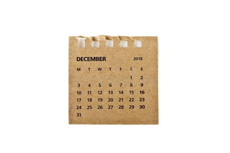 diciembre Hoja del calendario en blanco fotos de archivo
