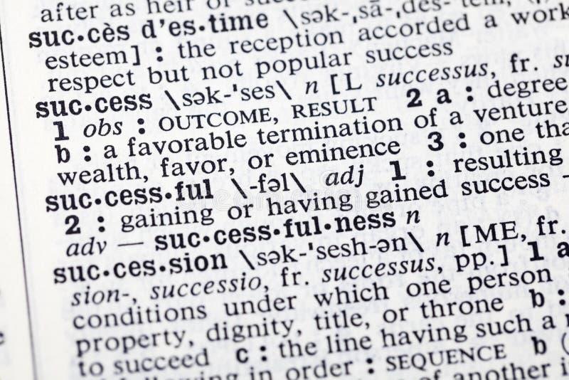 Dicionário bem sucedido da página do resultado da riqueza do sucesso imagem de stock
