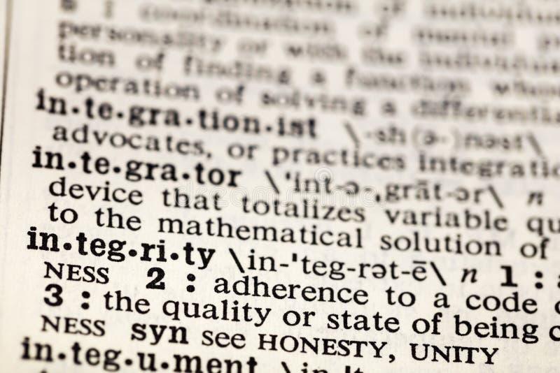 Dicionário da definição da honestidade das éticas das éticas da integridade imagens de stock royalty free