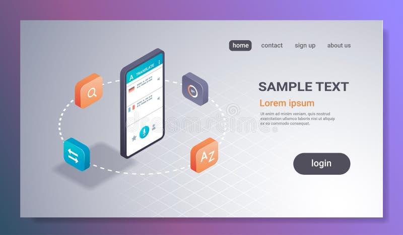 Dicionário em linha do Internet da tela do smartphone do conceito da tradução da aplicação móvel do tradutor que aprende o app 3d ilustração royalty free