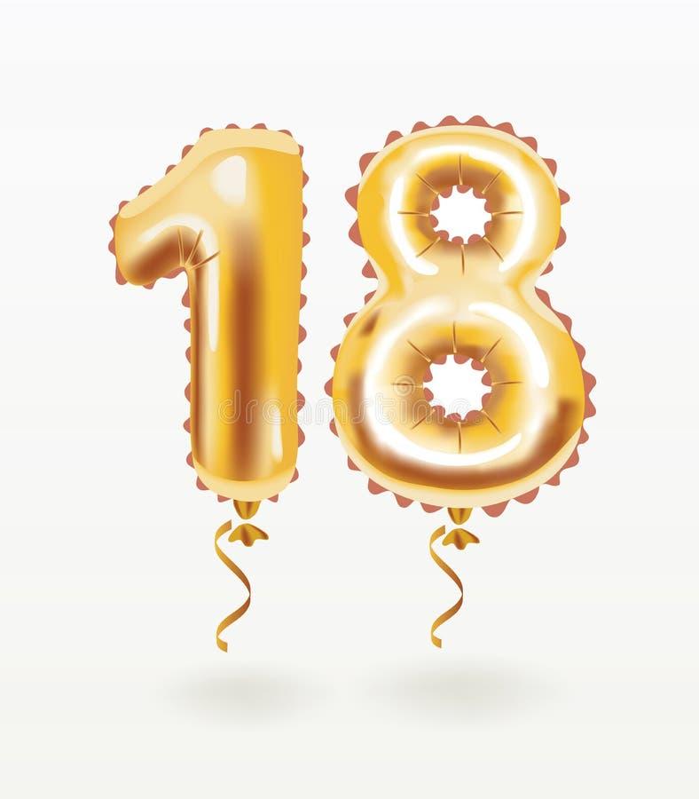 diciottesima celebrazione di compleanno con i palloni dell'oro royalty illustrazione gratis