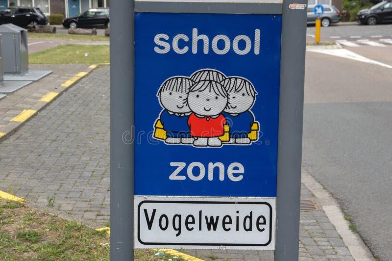 Dick Bruna Sign Be Aware Of School Zone At Diemen The Netherlands 2019.  royalty free stock photo