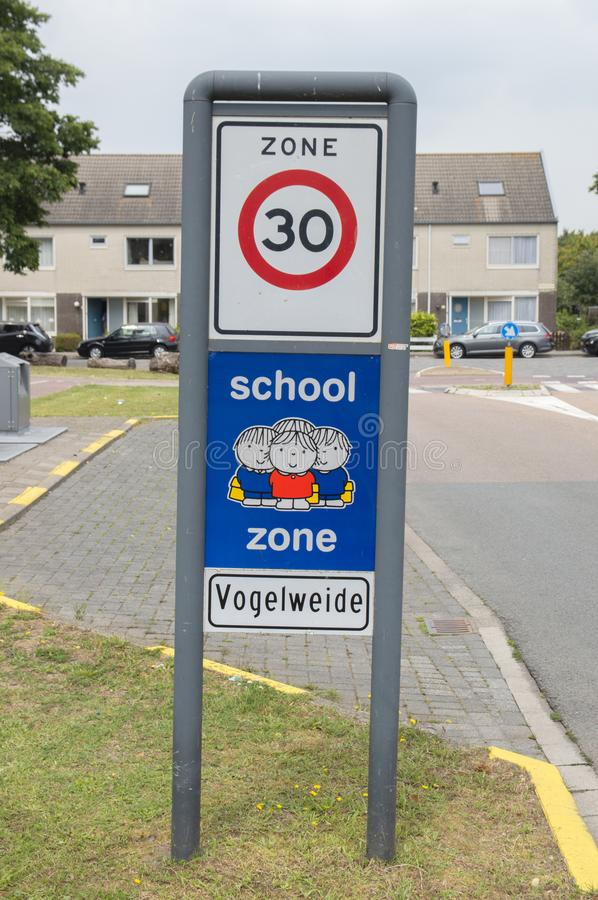 Dick Bruna Sign Be Aware Of School Zone At Diemen The Netherlands 2019.  royalty free stock images