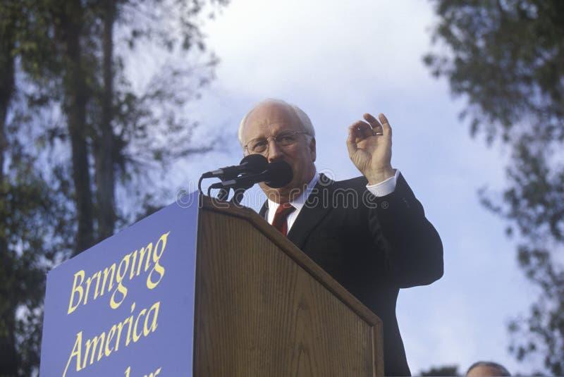 Dick Cheney på en Bush/Cheney aktion samlar i Costa Mesa, CA, 2000 arkivfoton