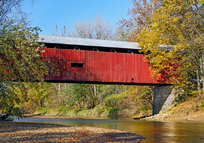 Huffman Covered Bridge. Also know as the Webster's Ford Bridge, Huffman Covered Bridge crosses Big Walnut Creek in rural Putnam County, Indiana. This two span stock images