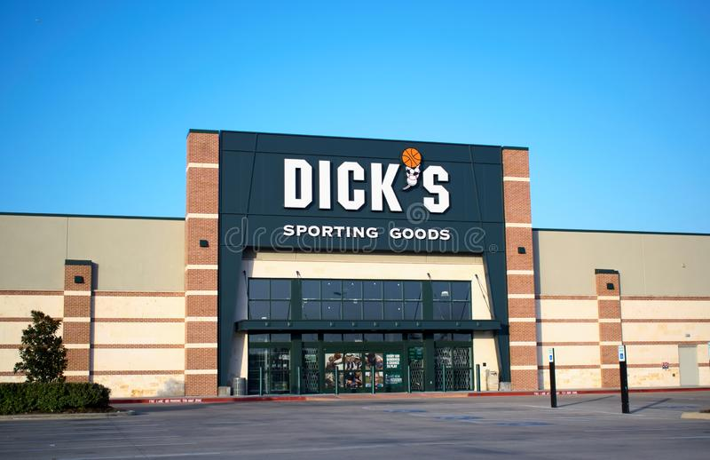 Dick`s Sporting Goods store in Humble, TX. Houston, Texas/USA 08/22/2019: Dick`s Sporting Goods store in Humble, TX. It was established in Pennsylvania 1948 and royalty free stock photo
