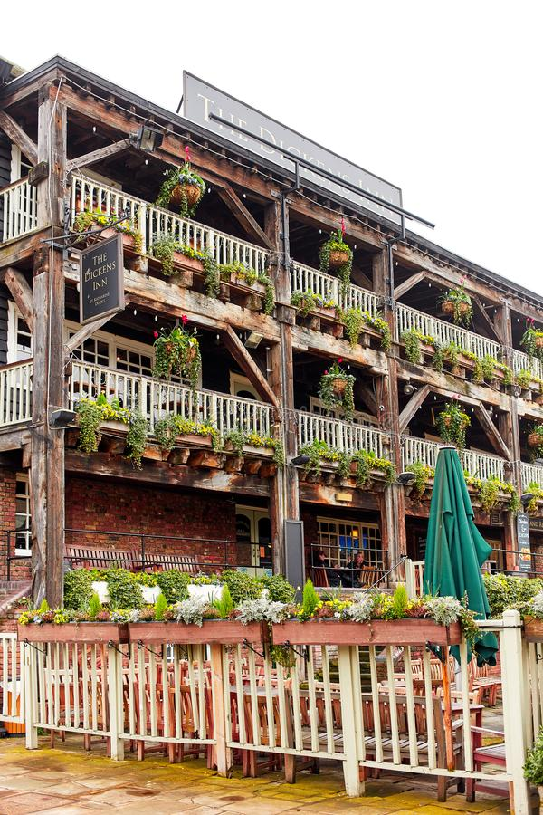 The Dickens Inn, historical pub in London. London, United Kingdom - APRIL 10, 2018: The Dickens Inn, historical pub in St Katharine Dock, London royalty free stock photography