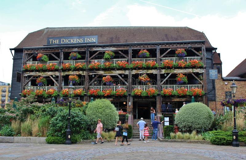 The Dickens Inn, London. A popular pub in St Katherine's Docks in London. The building is believed to be from the 1700s royalty free stock photos