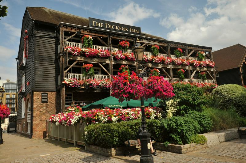 The Dickens Inn is an original warehouse building near Tower Bridge, Tower of London stock photography