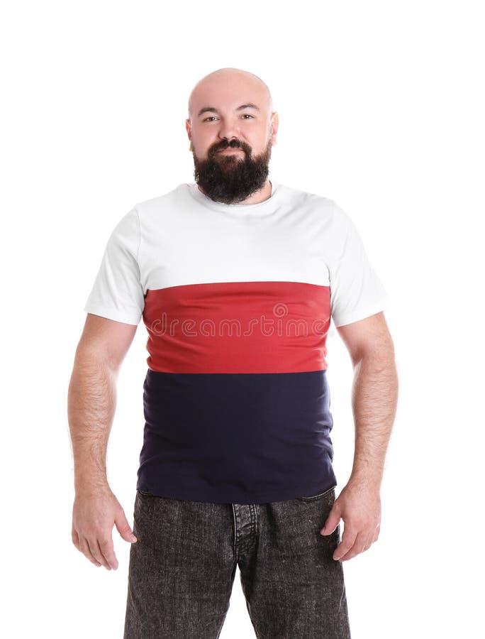 Dicker Mann auf weißem Hintergrund lizenzfreies stockfoto