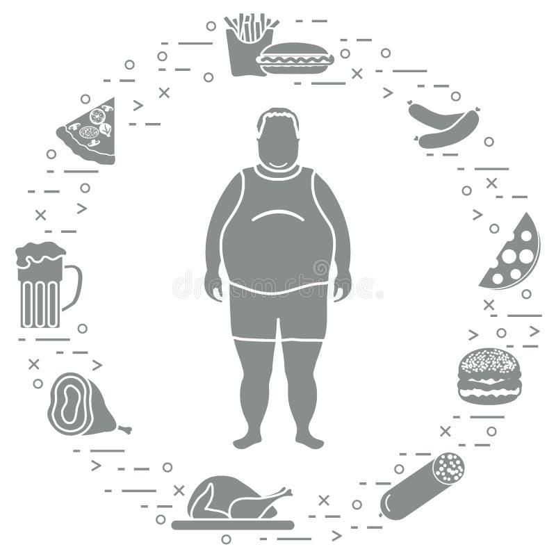 Dicker Mann mit ungesunden Lebensstilsymbolen um ihn Schädlich essen Sie lizenzfreie abbildung