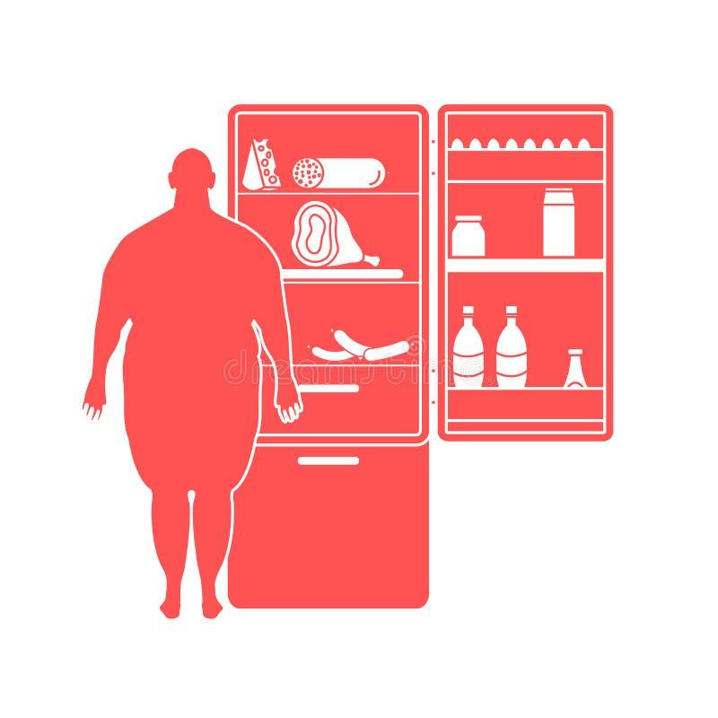 Dicker Mann steht am Kühlschrank voll des Lebensmittels Schädliche Essgewohnheiten lizenzfreie abbildung