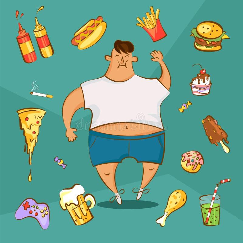 Dicker Mann und verschiedene Teller in der Karikaturart Schnellimbisssuchtkonzept Ungesunde Nahrung stockbilder