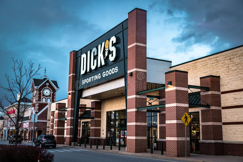 Dicks Sporting Goods retail store. York, PA - December 30, 2016: Exeterior of Dick`s Sporting Goods retail store including sign and logo stock photo