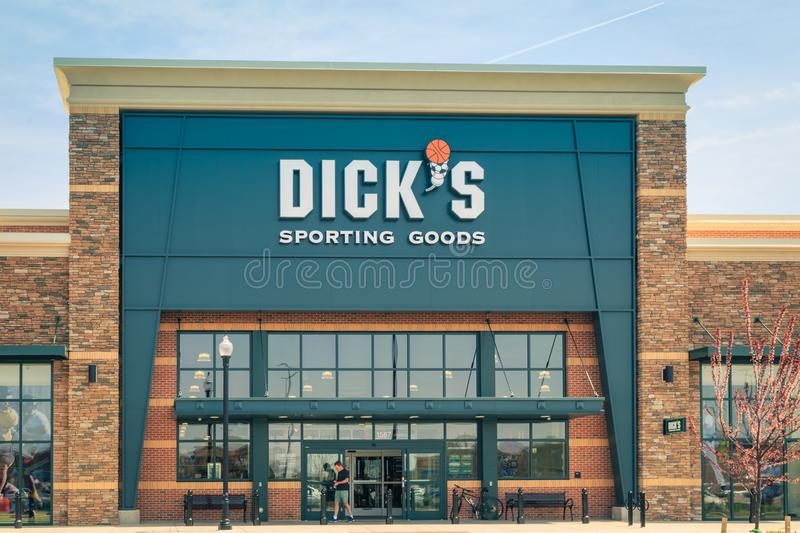 Dicks Sporting Goods Store Entrance. Lancaster, PA, USA - May 2, 2018: Exterior of Dicks Sporting Goods, a chain of retail stores in over 600 locations stock photos