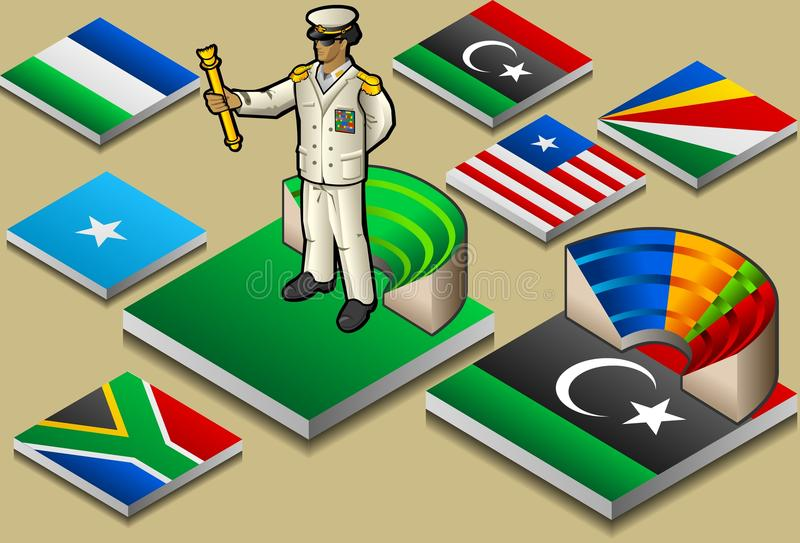 Dictadura o democrac isométrica libre illustration