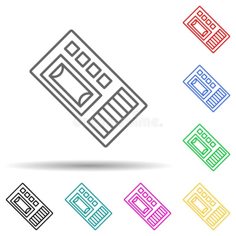 Dictafon, ikon för multifärgsformat Enkel tunn linje, översikt över brott Undersökningsikoner för ui och ux, webbplats eller mobi stock illustrationer