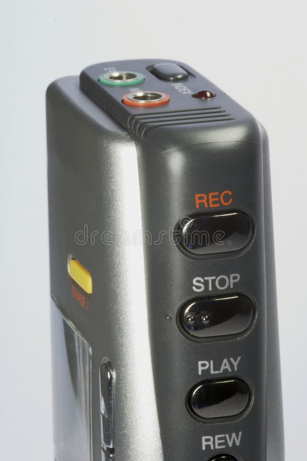 Dictaphone 03. Digital dictaphone in detail - silver and black stock photography