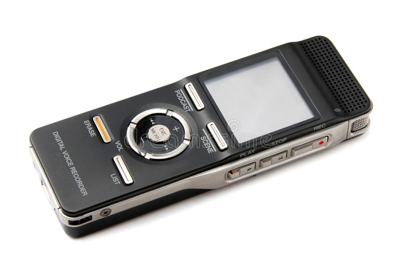 Dictaphone. Black and gray dictating machine, isolated stock photo