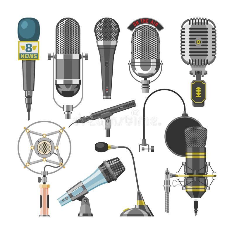 Dictaphone et microphones audio de vecteur de microphone pour l'ensemble record podcast de technologie d'émission ou de musique d illustration stock