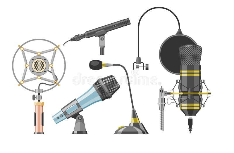 Dictaphone et microphones audio de vecteur de microphone pour l'ensemble record podcast de technologie d'émission ou de musique d illustration libre de droits