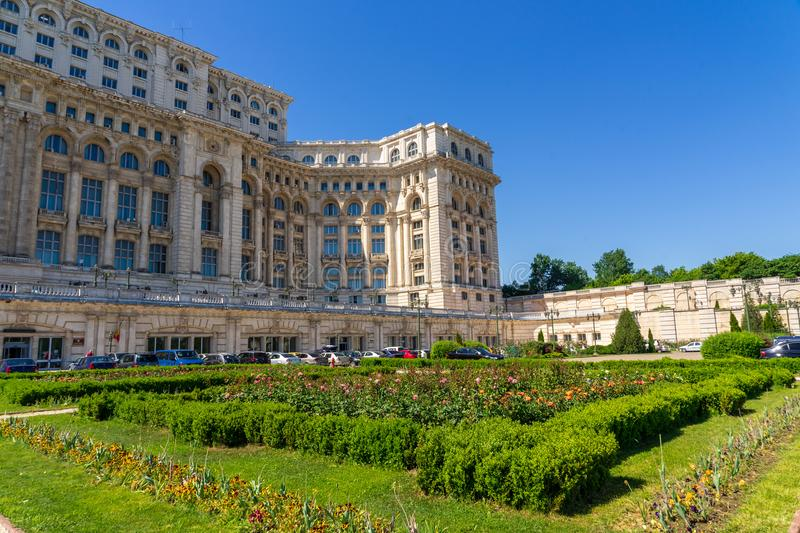 Ceausescu Palace and gardens in summer at Bucharest. The dictator loved art and his palace had a rich art collection. You can take a guided tour to visit a stock photos